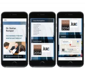 Mobile Ansicht der Rechtsanwalts-Seite und Google Maps