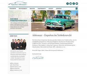 Verkehrsrechts-Kanzlei Design mit Oldtimern als Motive